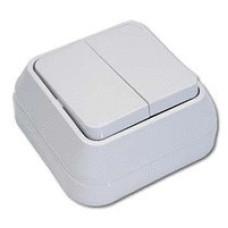 MAKEL 62 ОП белый выключатель 2-клавишный 45103