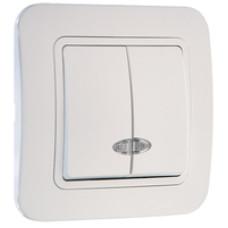 MAKEL LILIA 06 белый выключ.2-клав.подсвет. 70023