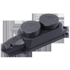 Розетка кабельная 2-м с защ.крыш. с/з черн.каучук