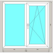 Окно двустворчатое ArtecStandart60 2-х камерн 1300*1300