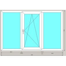Окно 3-ех створчатое ArtecStandart60 2-х камерн 1300*2000