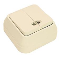 MAKEL 75 ОП крем выключатель 2-клав.с подсв. 45223