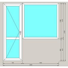 Балконный блок ArtecStandart60 2-х камерн 1300*1300*700*2100